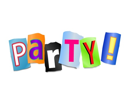 bash: Illustration depicting cut out letters arranged to form the word party