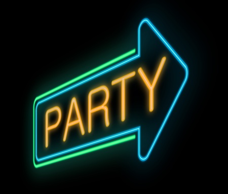 bash: Illustration depicting a neon sign with a party concept  Stock Photo