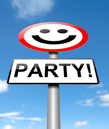 revelry: Illustration depicting a road sign with a party concept  Stock Photo