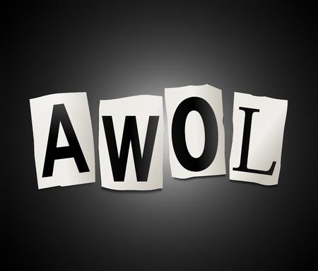 Illustratie geeft uitgesneden letters ingericht om het woord AWOL vormen
