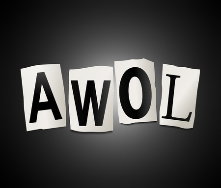 astray: Illustration depicting cut out letters arranged to form the word AWOL