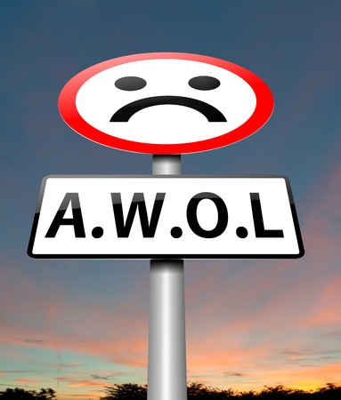 desertion: Illustration depicting a sign with an AWOL concept