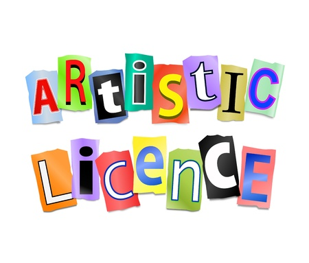licence: Illustration depicting cut out letters arranged to form the words artistic licence.