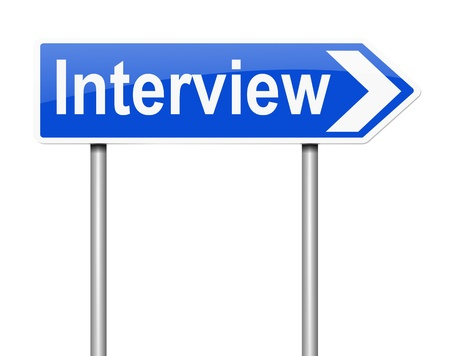 インタビュー概念と記号を描いたイラスト。