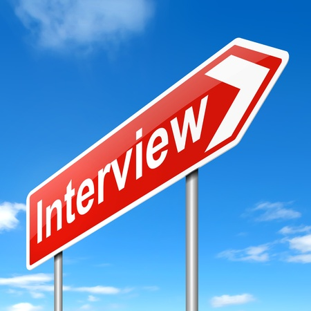 Illustration depicting a sign with an interview concept. Stock Illustration - 19219250