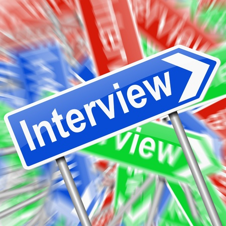 interrogating: Abstract style illustration depicting a signs with an interview concept. Stock Photo
