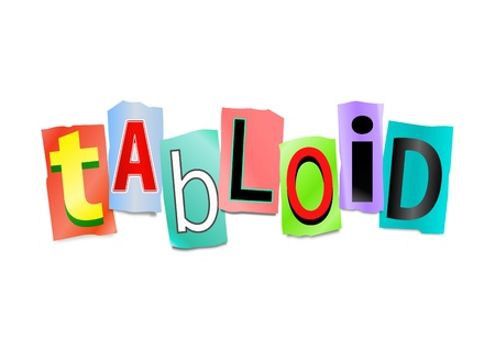 newsprint: Illustration depicting cut out letters arranged to form the word tabloid. Stock Photo