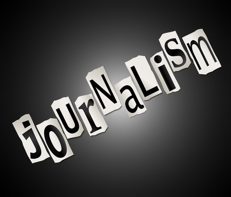 Illustration depicting cut out letters arranged to form the word journalism. illustration