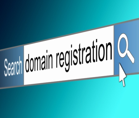 domain: Illustration depicting a screen shot of an internet search bar containing a domain registration concept.