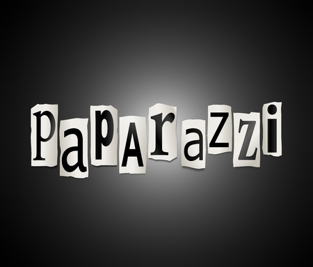 Illustration depicting cut out letters arranged to form the word paparazzi.