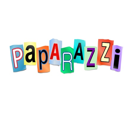 unwanted: Illustration depicting cut out letters arranged to form the word paparazzi.