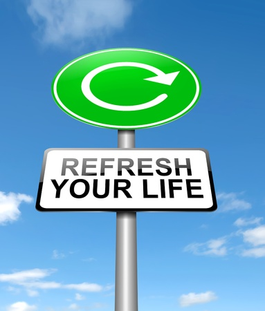 recharge: Illustration depicting a sign with a refresh your life concept.