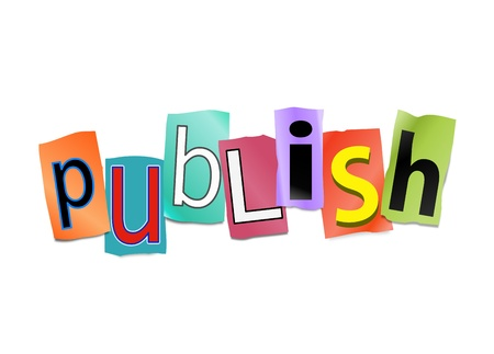 Illustration depicting cut out letters arranged to form the word publish.