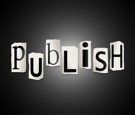 Illustration depicting cut out letters arranged to form the word publish. Stock Illustration - 19219269