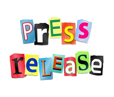 press release: Illustration depicting cut out letters arranged to form the words press release. Stock Photo