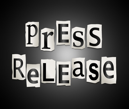 latest news: Illustration depicting cut out letters arranged to form the words press release. Stock Photo