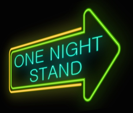 Illustration depicting an illuminated neon sign with a one night stand concept. Stock Photo