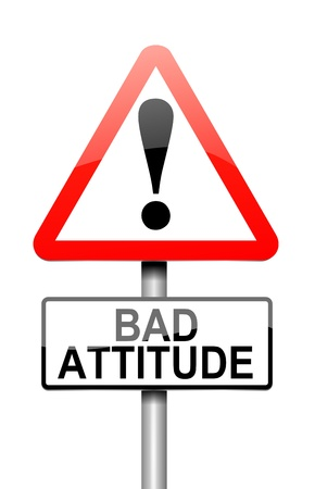insulting: Illustration depicting a sign with a bad attitude concept.