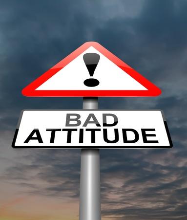 態度の悪い概念と記号を描いたイラスト。