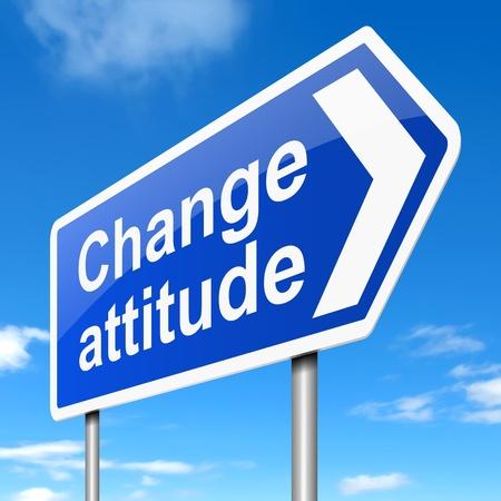 arroganza: Illustrazione raffigurante un cartello con un concetto di atteggiamento cambia. Archivio Fotografico