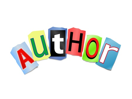 author: Illustration depicting cut out letters arranged to form the word author. Stock Photo
