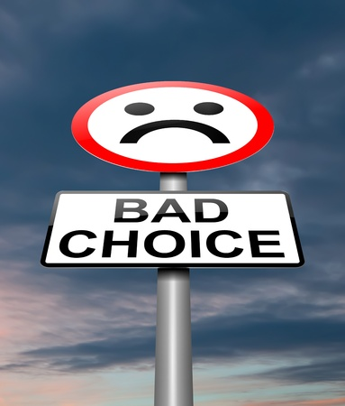 street wise: Illustration depicting a sign with a conference bad choice.