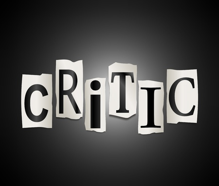 censor: Illustration depicting cut out letters arranged to form the word critic. Stock Photo