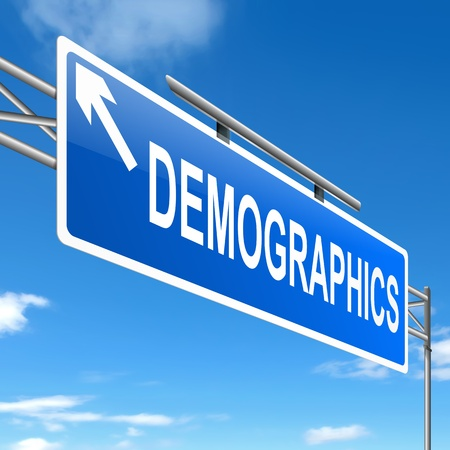 enumeration: Illustration depicting a sign with a demographics concept.