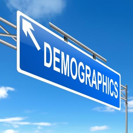demografia: Ilustración que muestra un letrero con un concepto de la demografía. Foto de archivo