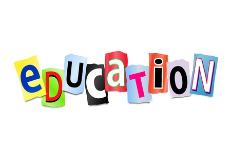 Illustration depicting cut out letters arranged to form the word education. illustration