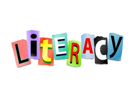 literacy: Illustration depicting cut out letters arranged to form the word literacy