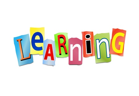Illustration depicting cut out letters arranged to form the word learning  Archivio Fotografico