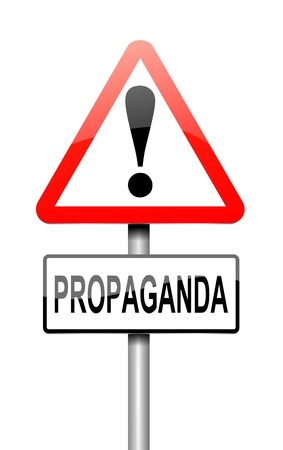 disinformation: Illustration depicting a sign with a propaganda concept