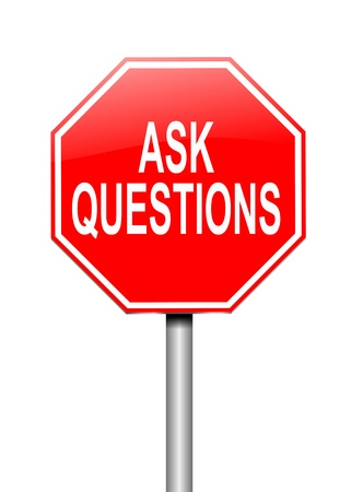 demanding: Illustration depicting a sign with an ask questions concept
