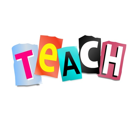 impart: Illustration depicting cut out letters arranged to form the word teach  Stock Photo