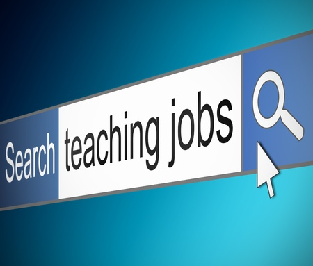 lecturing: Illustration depicting a screen shot of an internet search bar containing a teaching jobs concept