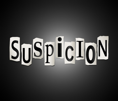 hunch: Illustration depicting cut out letters arranged to form the word suspicion