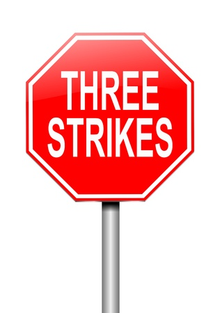 offenses: Illustration depicting a sign with a thee strikes concept