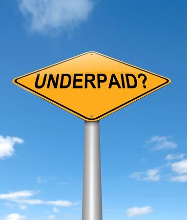 salarios: Ilustraci?n que muestra un letrero con un concepto mal pagados