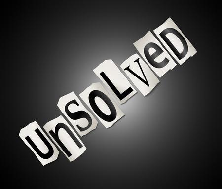 onbeantwoorde: Illustratie geeft uitgesneden letters ingericht om het woord onopgelost vormen