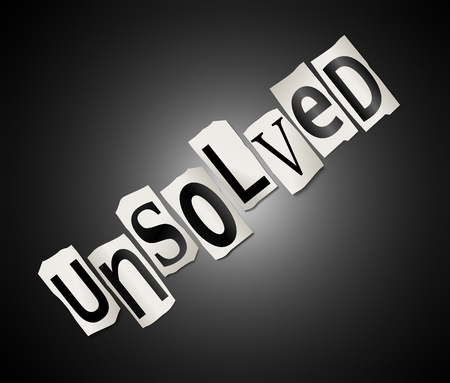 Illustration depicting cut out letters arranged to form the word unsolved  Stock Illustration - 19438565