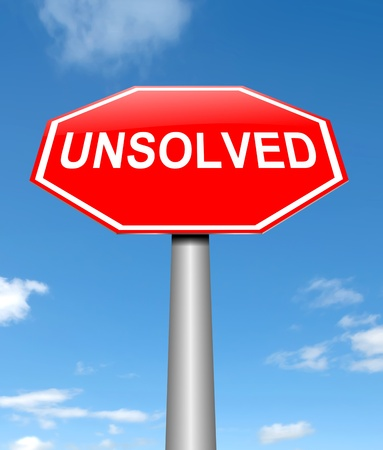 unsolvable: Illustration depicting a sign with an unsolved concept