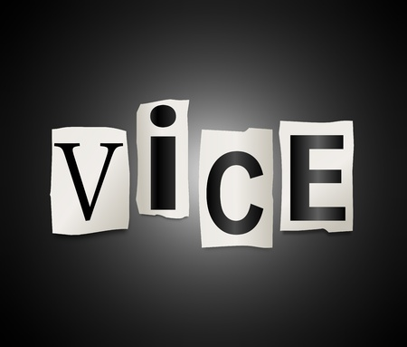perversion: Illustration depicting cut out letters arranged to form the word vice. Stock Photo