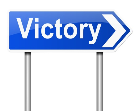 overthrow: Illustration depicting a sign with a victory concept. Stock Photo