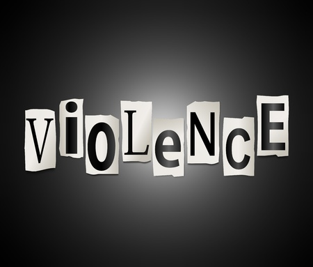 carnage: Illustration depicting cut out letters arranged to form the word violence. Stock Photo