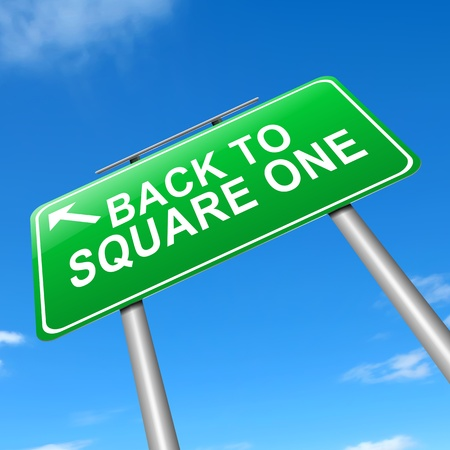failed strategy: Illustration depicting a sign with a back to square one concept.