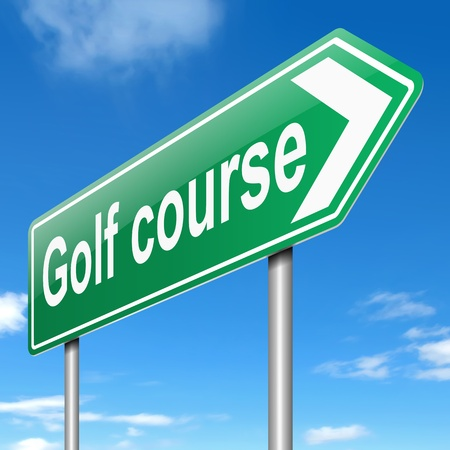 Illustration depicting a sign with a golf course concept  Stock Illustration - 19438599
