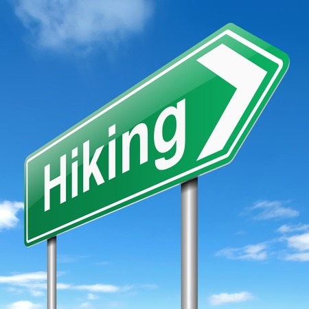 Illustration depicting a sign with a hiking concept  Stock Illustration - 19438595