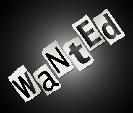hunted: Illustration depicting cut out letters arranged to form the word wanted
