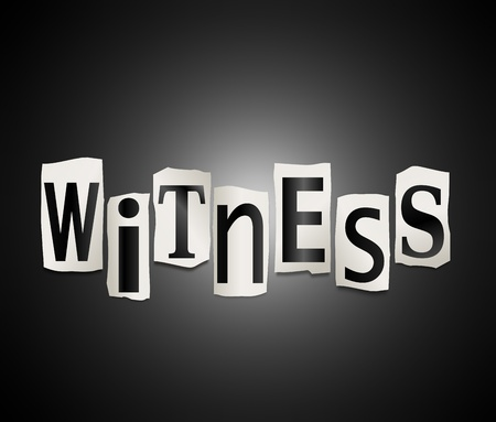 zeugnis: Die Illustration zeigt ausgeschnitten Buchstaben angeordnet, um das Wort zu bilden Zeuge